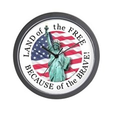 America Free and Brave Wall Clock