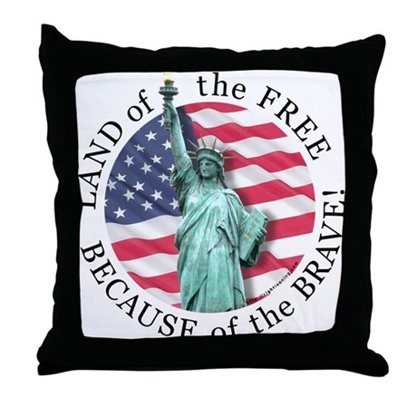 America Free and Brave Throw Pillow