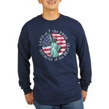 America Free and Brave Lng Slv Dark Tee