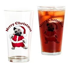 Christmas Santa Pug Drinking Glass