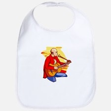 guitar kneeling bald singing red Bib