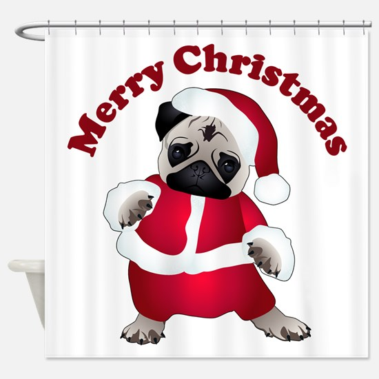 Christmas Santa Pug Shower Curtain