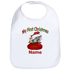 1st Christmas Kitty Personalized Bib