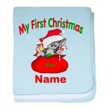 1st Christmas Kitty Personalized baby blanket