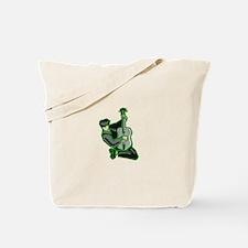 guitar player kneeling abstract green Tote Bag