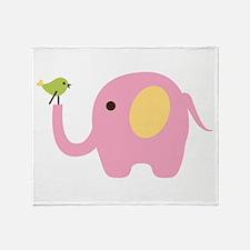 Elephant With Bird Throw Blanket