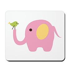 Elephant With Bird Mousepad