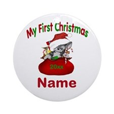 1st Christmas Kitty Personalized Ornament (Round)
