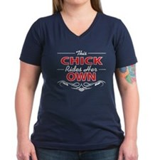 This Chick Rides Her Own, On Black T-Shirt