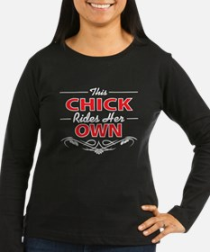 This Chick Rides Her Own, on black Long Sleeve T-S