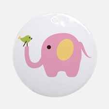 Elephant With Bird Ornament (Round)