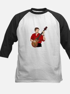 guitar player male semi hollow red shirt Baseball