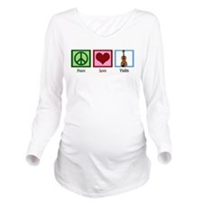Peace Love Violin Long Sleeve Maternity T-Shirt
