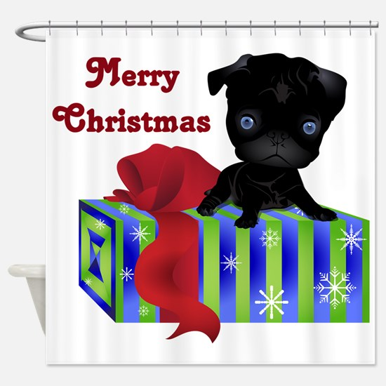 Black Pug with Christmas Gift Shower Curtain