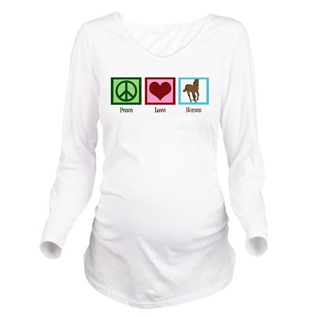 Peace Love Horses Long Sleeve Maternity T-Shirt