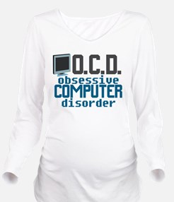 Funny Computer Long Sleeve Maternity T-Shirt