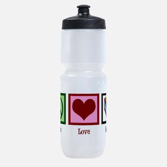 Peace Love Books Sports Bottle
