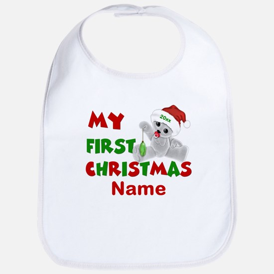 1st Christmas Bear Personalized Bib