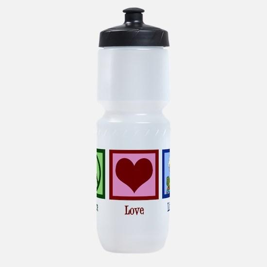 Peace Love Library Sports Bottle