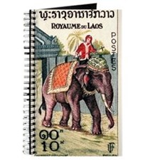 Vintage 1958 Laos Decorated Elephant Postage Stamp