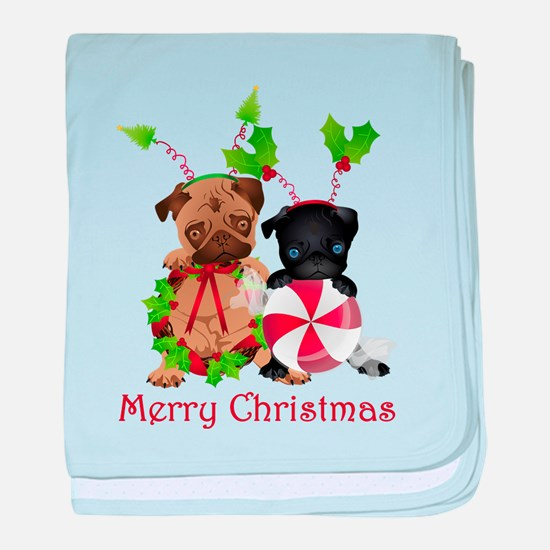 Black and Fawn Christmas Pugs baby blanket
