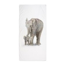 mother and baby elephant Beach Towel