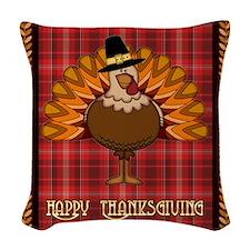 Happy Thanksgiving Turkey Woven Throw Pillow