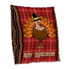 Happy Thanksgiving Turkey Burlap Throw Pillow