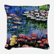Monet Waterlilies Woven Throw Pillow
