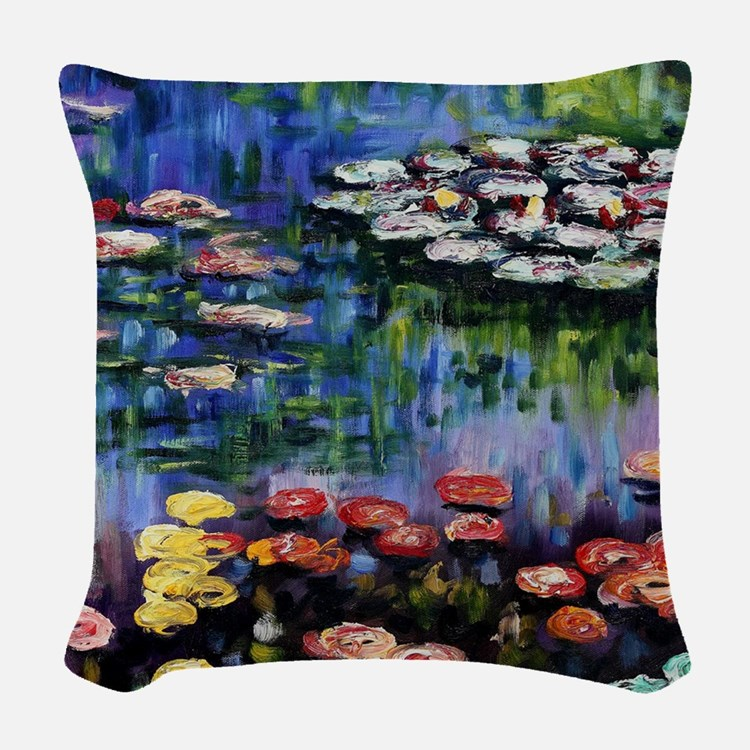 Monet Waterlilies Woven Throw Pillow