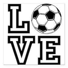 """Love Soccer Square Car Magnet 3"""" x 3"""""""