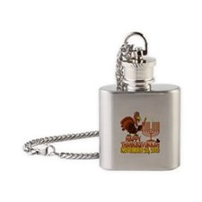 Happy Thanksgivukkah Flask Necklace