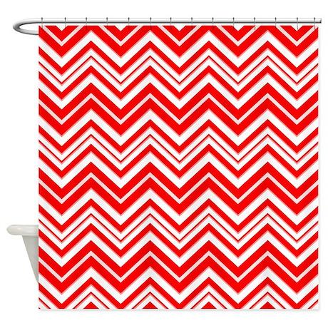 Red White Chevron Shower Curtain