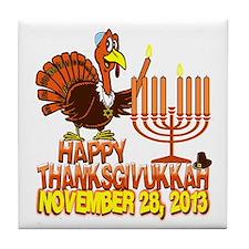Happy Thanksgivukkah Tile Coaster