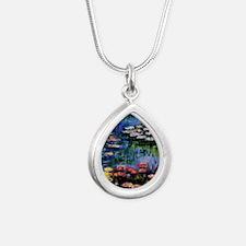 Monet Waterlilies Silver Teardrop Necklace