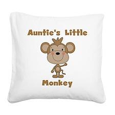 Auntie's Little Monkey Square Canvas Pillow