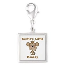 Auntie's Little Monkey Silver Square Charm