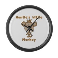 Auntie's Little Monkey Large Wall Clock