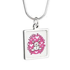 Auntie's Snuggle Bunny Silver Square Necklace