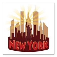 """new york 7 newwave hot Square Car Magnet 3"""" x 3"""""""