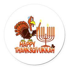 Happy Thanksgivukkah Round Car Magnet