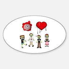 Eye Heart Zombies Sticker (Oval)