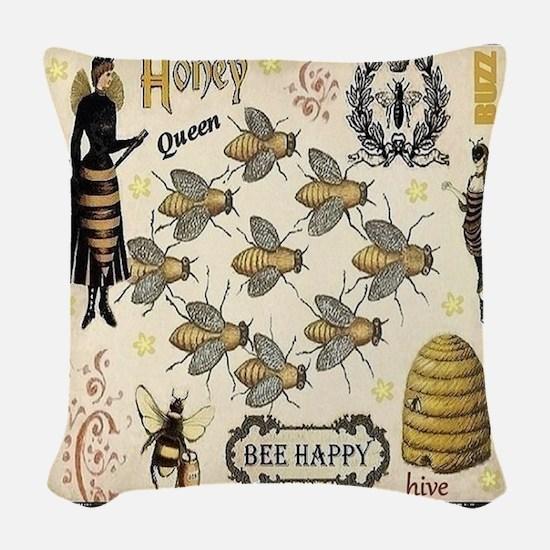 Bees Woven Throw Pillow