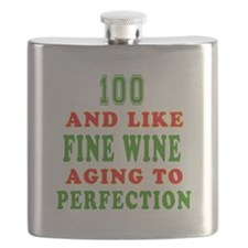 Funny 100 And Like Fine Wine Birthday Flask
