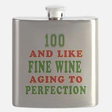 Funny 100 And Like Fine Wine Birthday Flask
