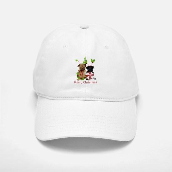 Black and Fawn Christmas Pugs Baseball Baseball Cap