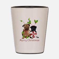 Black and Fawn Christmas Pugs Shot Glass