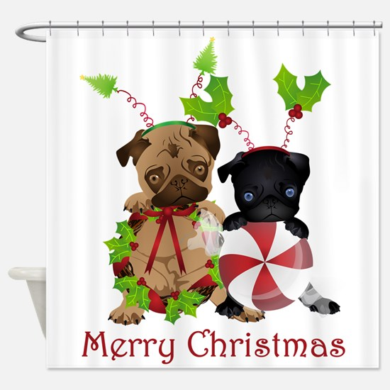 Black and Fawn Christmas Pugs Shower Curtain
