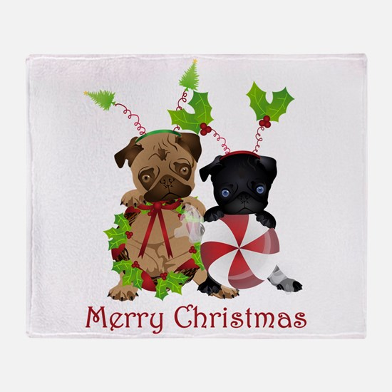 Black and Fawn Christmas Pugs Throw Blanket