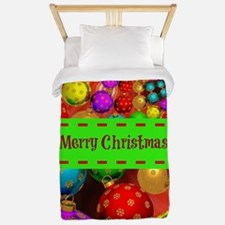 Merry Christmas, Colorful Christmas Orn Twin Duvet